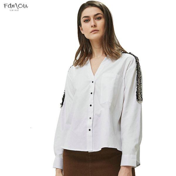 Donne Collare Camicette righe Office Lady manica lunga Turn Down Camicie lato bianco Top Femminili Blusas Be335
