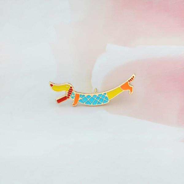 Miss Zoe Cute puppy Dachshund brooch Enamel pin coat Button Pin Denim Jacket Pin Badge Fashion Dog Animal Jewelry Gift for Kids