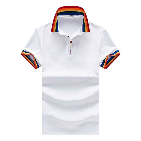 Simple men's lapel short sleeves Individual rainbow collar collars Tie buttons High quality fabrics Lightweight clothes