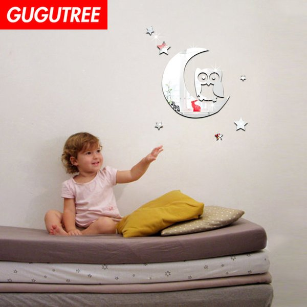 Decorate Home 3D moon star cartoon mirror art wall sticker decoration Decals mural painting Removable Decor Wallpaper G-249