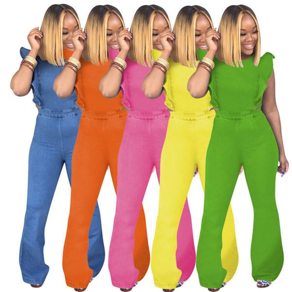 Kadın tulumlar bayan kot alevlendi tulum casual katı tulum bayan giyim alevlendi pantolon pantolon tulumlar klw1026