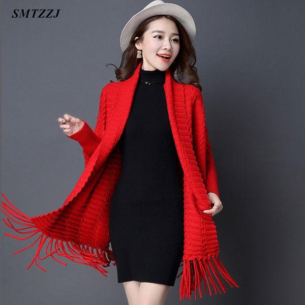 SMTZZJ Autumn winter Oversized Coat Open Stitch Cardigans Sweater 2019  Women Female Red Grey Knitted Jacket Tops