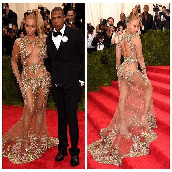 2019 Sheer Scoop Mermaid Celebrity Dresses Slim Colorful Crystal Beaded Sexy See Through Red Carpet Beyonce Jay Met Gala Prom Party Gowns