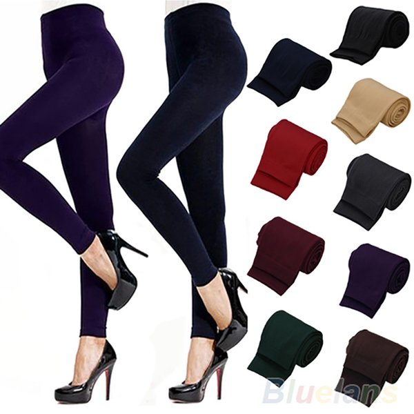 2019 New Fashion Solid Color Women's Stretch Thicken Leggings Warm Skinny Pants Footless good quality Drop Shipping