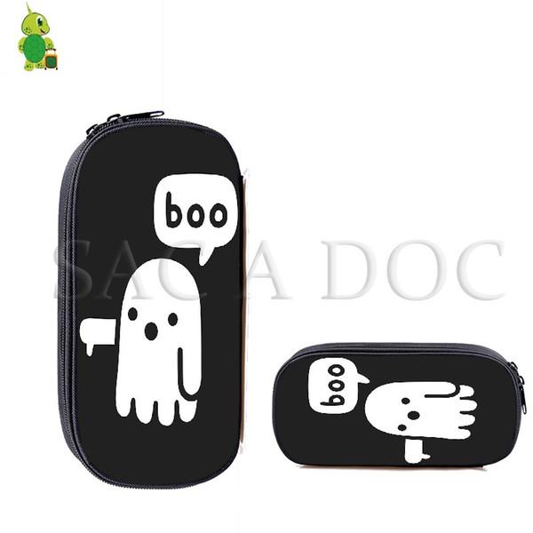 Boo Halloween Cosmetic Cases Kids Pencil Box Teenage Boys Girls School Supplies Stationery Storage Bag Cartoon Makeup Bag
