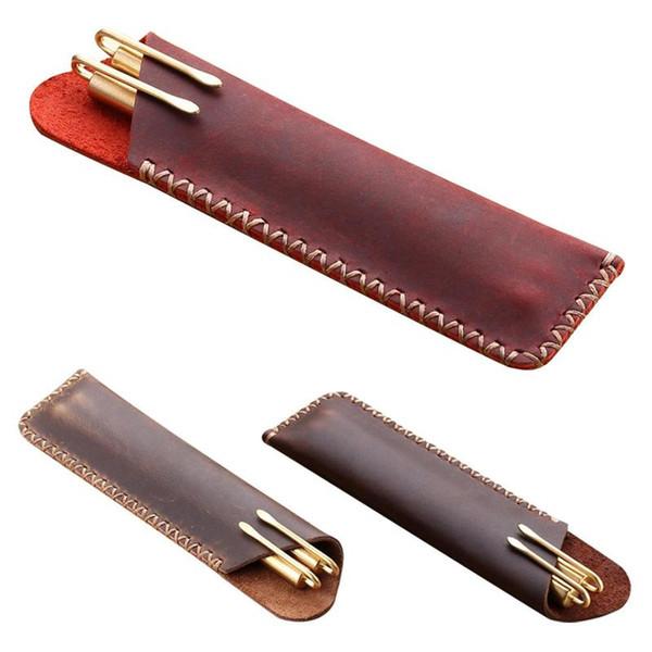 Rétro Style Accessoires Pour Sac en cuir pour ordinateur portable Porte-main en cuir cas sac rustique, crayon stylo Genuin E3Y7