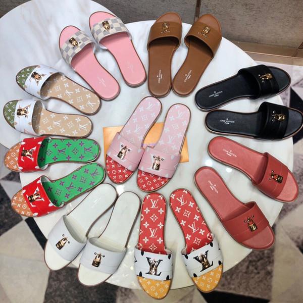 Роскошные дизайнерские женские сандалии 2019 Высочайшее качество женские тапочки летом с цифровой печатью рисунком желе с замком на плоской подошве size35-41
