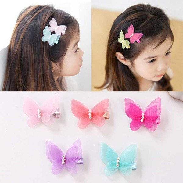 Children's Hair Clips Set Cartoon Butterfly Shape Imitation Pearl Hair Accessories Set Hairclips Pink Hairpins For Girls Barrettes