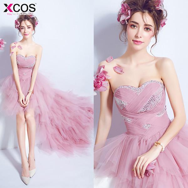 2018 Dust Pink Prom Dresses Short Front Long Back Abito da sera Tulle Organza Fashion Party Abito formale per la laurea
