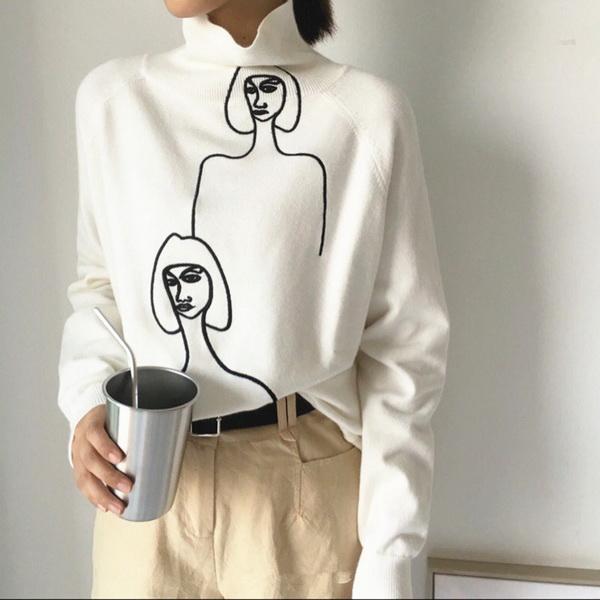 28d94793c 2019 nova moda popular eacy Retrato de mulheres de cabelo curto abstrato  com gola alta e