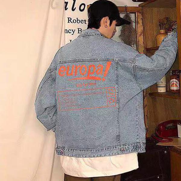 19SS Orange Letter Printing Blue Denim Shirt Jacket Single Breasted Casual Jackets Fashion Outerwear Men Women Couple Jackets HFHLJK047