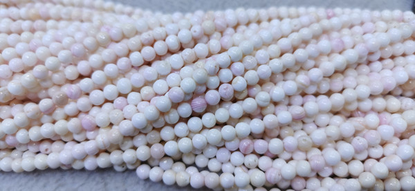 best selling Sales --100pcs 4mm Genuine Blush Pink Queen Conch shell round Ball Beads, jewelry supply, Red jewelry beads for bracelet-necklace -earrings