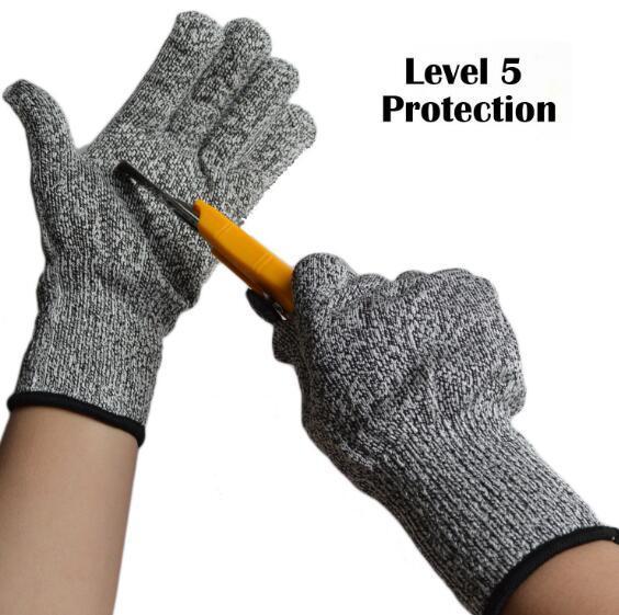 2018 luvas quentes da proteção do nível 5 da luva da venda luvas resistentes do corte de HPPE luvas seguras cut-proof da segurança do woodworking do abatedor do fio de aço do plutônio