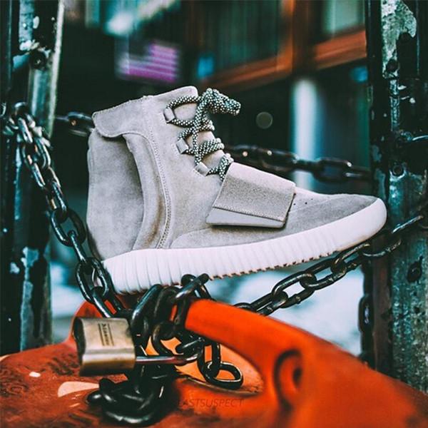 Designer Shoes Kanye West 750 Boots Mens Glow Dark Light Grey Triple Black High Ankle Sport Shoes Women Sneaker Skateboard Size 36-46