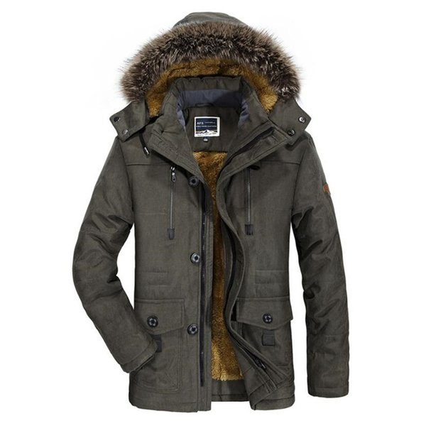 Winter Jacket Men Casual Fur Collar Thicken Coat Plus Velvet Windbreaker Parkas Size 5XL 6XL Mens Winter Outwear Long Overcoat
