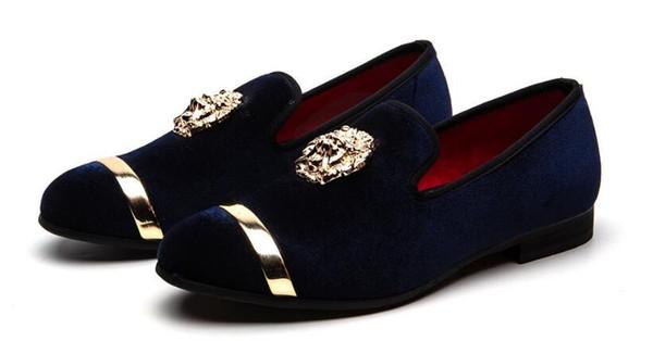 Hombres Zapatos de vestir de terciopelo marrón Prom Hombres Fumadores Zapatillas de fiesta y mocasines de boda BLUE RED BLACK Hombres Slip-on talla grande 7-12