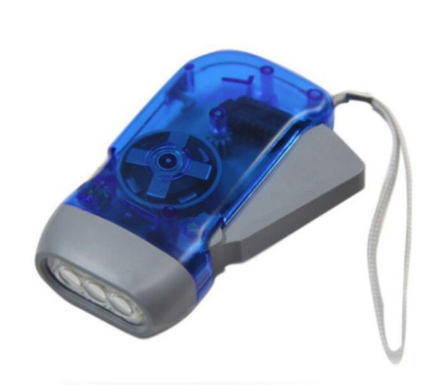 best selling New protable 3 LED Dynamo Wind Up Flashlight Torch Light Hand Press Crank NR Camping Free & Fast DHL Shipping