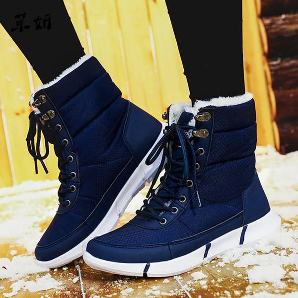 Platform Snow Boots For Men Thick Plush Waterproof Slip-resistant Shoes Plus Size 36-48 2019 Winter