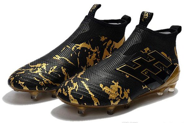Ace 17+ Purecontrol Primeknit outtdoor Soccer Cleats Firm Ground Cleats Trainers FG NSG Mens Football Boots Soccer Shoes Gold Black-sa5d4s5d