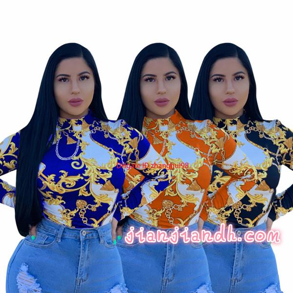 ZH5113 explosión venta 19 mujeres europeas y americanas sexy cuello redondo gran cadena de oro estampado camisa moda cómoda6598