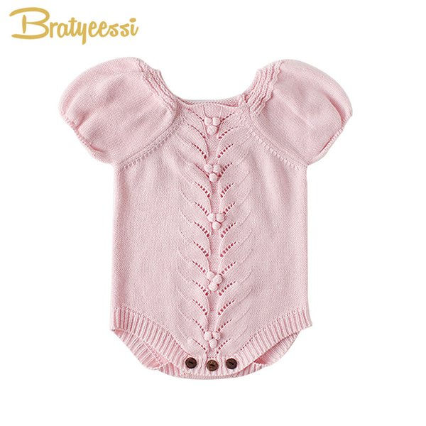 Vintage Romper For Girls Puff Sleeves Knitted Children Jumpsuit Girl Rompers Spring Autumn Toddler Baby Onesie J190525