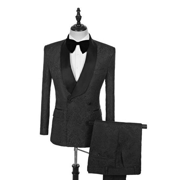 Double-Breasted Groomsmen Shawl Lapel Groom Tuxedos Pattern Men Suits Wedding/Prom/Dinner Best Man Blazer ( Jacket+Pants+Tie) G50