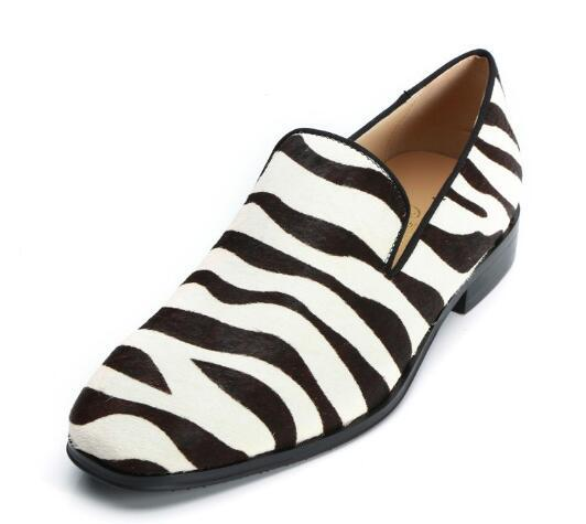 Men Slip-on Zebra Horsehair Shoes Fashion High Quality Loafers Street Smoking Shoes Customized Party Shoes Eu38-EU46
