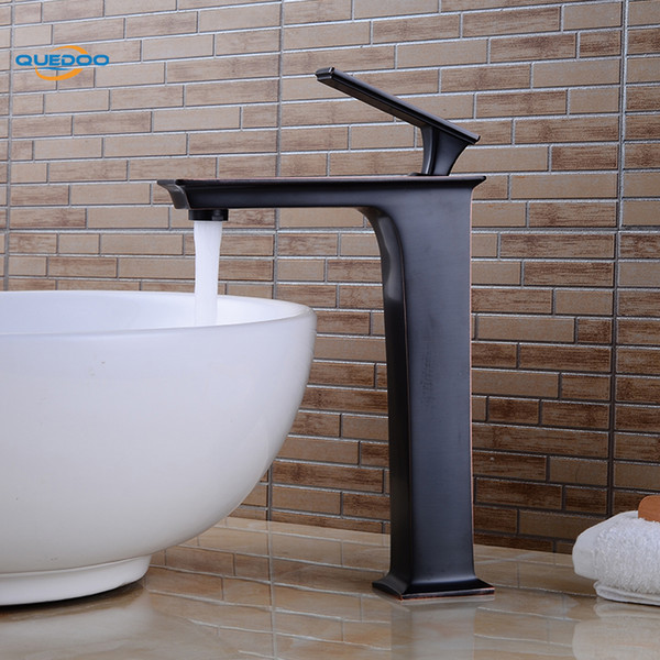 Waterfall Spout Bathroom Sink Faucet Basin Single Handle Deck Mount Oil Rubbed Bronze Finished Mixer Taps