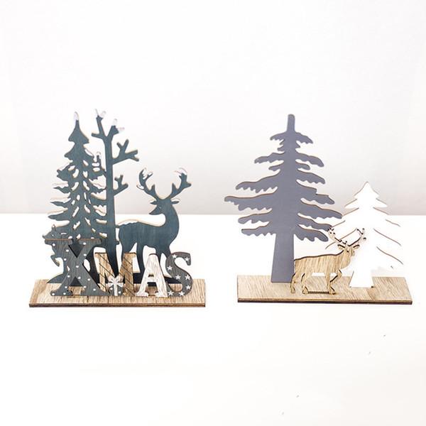 Alces Pingentes de Árvore de Natal Pendurado Enfeites De Madeira Enfeites De Árvore De Natal Festa De Desktop DIY Decoração Festival De Madeira Casa Decorativa