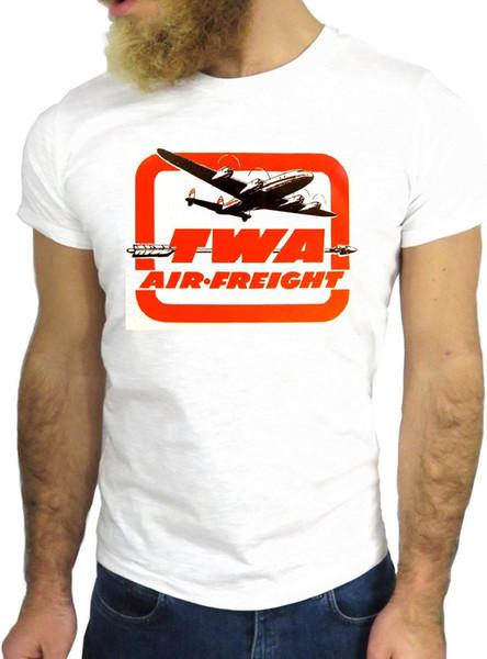 T-SHIRT JODE Z3461 TWA AIR FREIGHT COOL NICE AVION LOGO VINTAGE NEW YORK ÉTATS-UNIS GGG hommes femmes mode unisexe t-shirt Livraison gratuite drôle drôle