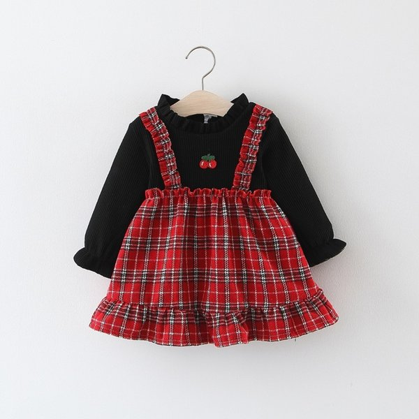 good quality Baby Girl Winter Plaid Crew Neck Plus Velvet Thicken Top Knitted Cotton Ball Gown Clothes Casual Outfit Dress for Girls
