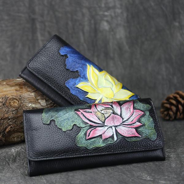 Estilo chino Lotus Long Mujer Carteras Señora Monederos Mujer Nuevo Teléfono de Lujo Borla Monedero de bolsillo Diseñador de tarjeta de cuero de grano entero