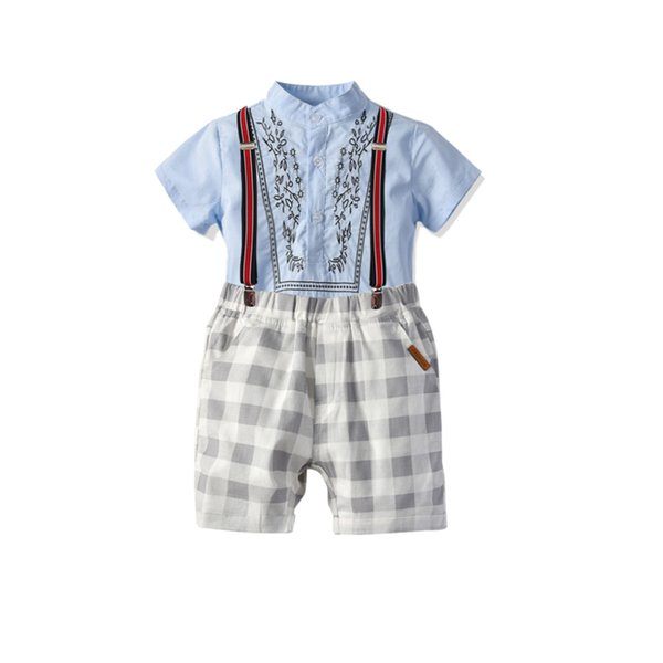 New children's suit boys summer school national embroidered stand collar short-sleeved cardigan plaid strap shorts three-piece