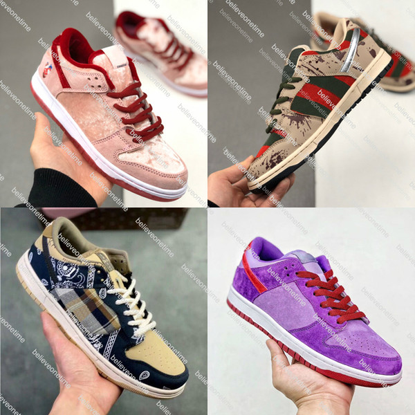 best selling What The Dunk SB Low Pro Travis Scott Men Women Running Shoes StrangeLove Freddy Krueger Diamond Designer Trainers Sneakers With Box