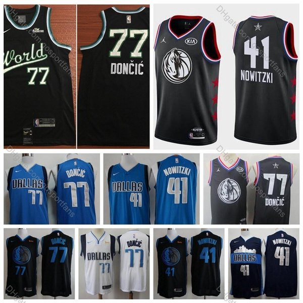 Championnat du monde All-Star 2019 # 77 Dallas Dirk Nowitzki Luka Doncic Jersey Edition Mavericks Basketball City City Luka Doncic Cousu S-XXL
