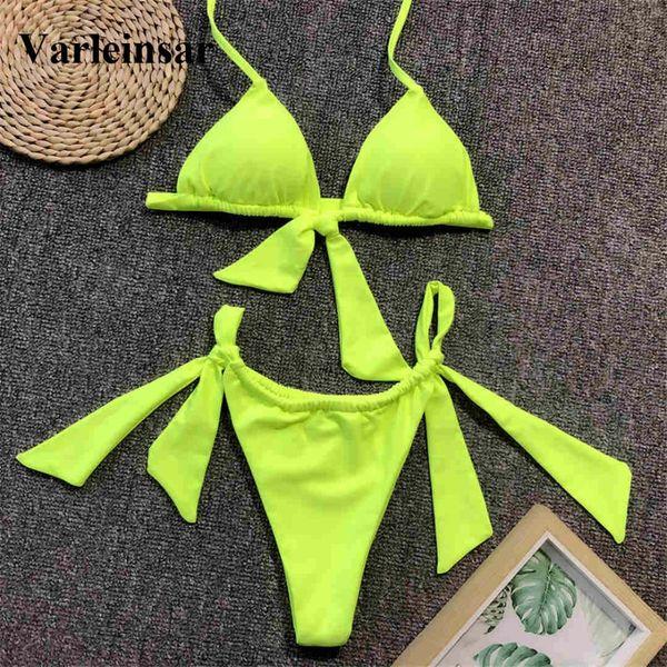 Neon Verde Atado Biquíni 2019 Feminino Swimsuit Mulheres Swimwear Two-peças Bikini set Bather Halter Maiô Swim Desgaste V1296