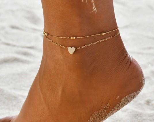 best selling Jewelry Anklets Heart Charm Tassel Multi Layer Ankle Chain In Gold Silver Ankle Bracelets Foot Chain