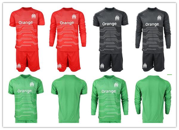 2018 2019 Olympique de Marselha Futebol Jersey Kit MANDANDA 30 PELE 16 OM Marselha Goleiro Marselha Goallie Camisa calções