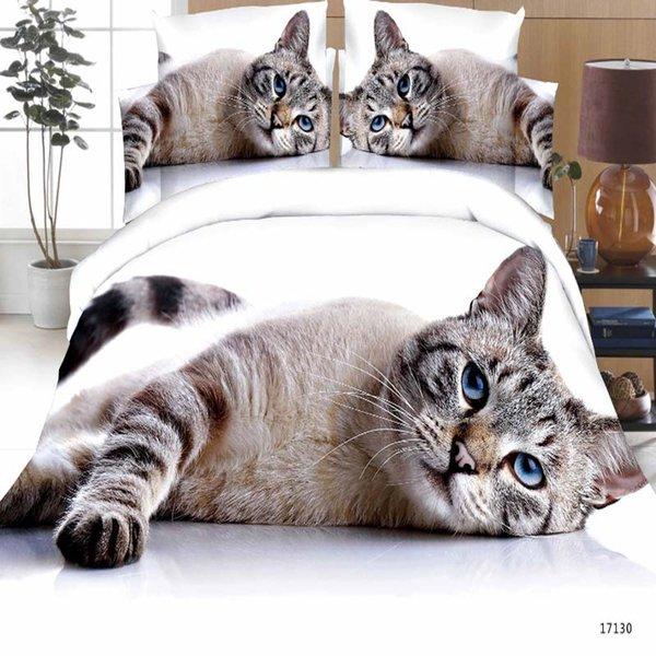 Luxe Smart literie 3d literie literie 4pcs lit housse de couette drap plat Home Textiles taie d'oreiller Reine taille chat tigre Lion