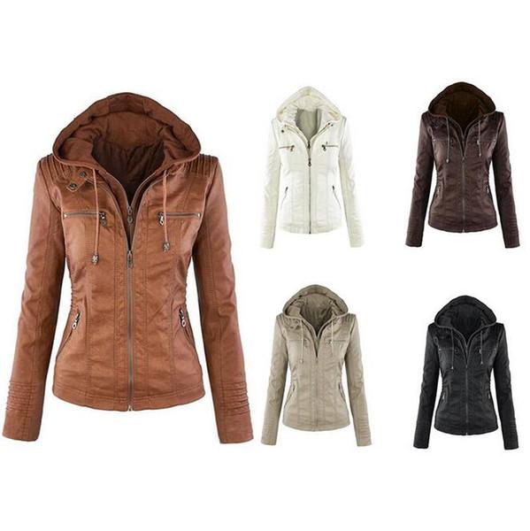 Long sleeve European and American fashion jacket Jacket Women's detachable lapel long sleeve double zipper short leather