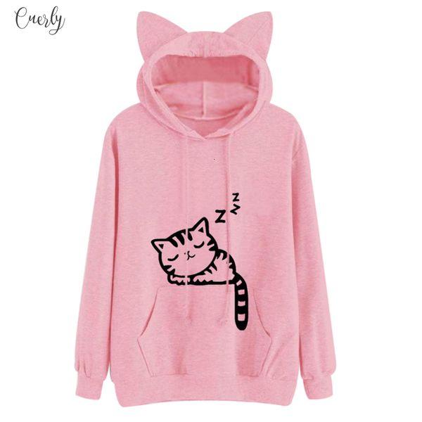 Femmes Sweats à capuche Sweat-shirt Kawaii rose d'hiver Motif Cat à manches longues Sweats à capuche Hooed Ear Sweat Mujer
