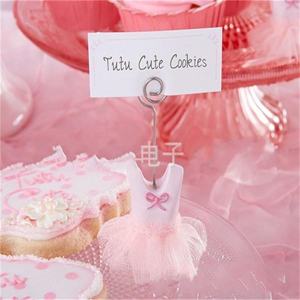 Baby Shower Favors Pink Seat Clamp Gauze Princess Dress Shape Party Decoration Children Metal Fashion Cute Table Card 4lbC1