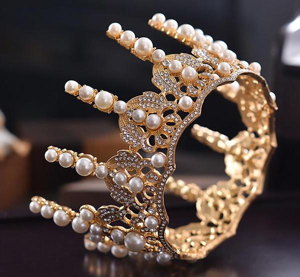 Vendita calda di trasporto libero 2019 reale oro corone di nozze perline perle di cristallo elgant bridal sparkle pageant diademi copricapo di alta qualità