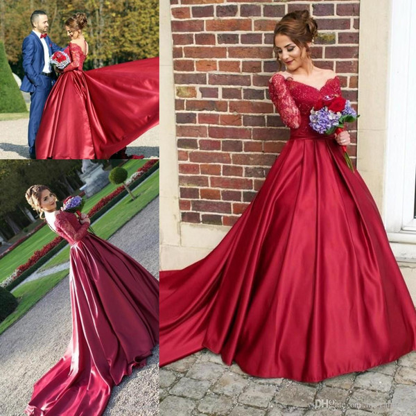 Off the Shoulder Dark Red Ball Gown Prom Dresses with Lace Long Sleeves Floor Length Pageant Dresses with Court Train Evening Gowns
