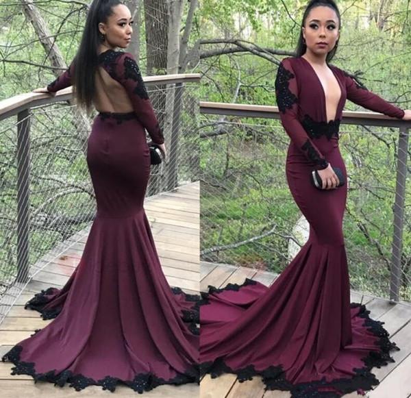 2019 Bourgogne Sexy raisin pure robe de soirée sirène Scoop Black Appliqued manches longues plongeant Black Girls robes de soirée africaines