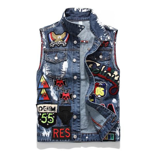 Hot Sale Autumn Lover Denim Casual Black Blue Jacket Tops Men's Letters Printing Old Streetwear Cowboy Jacket Sizes M-4XL