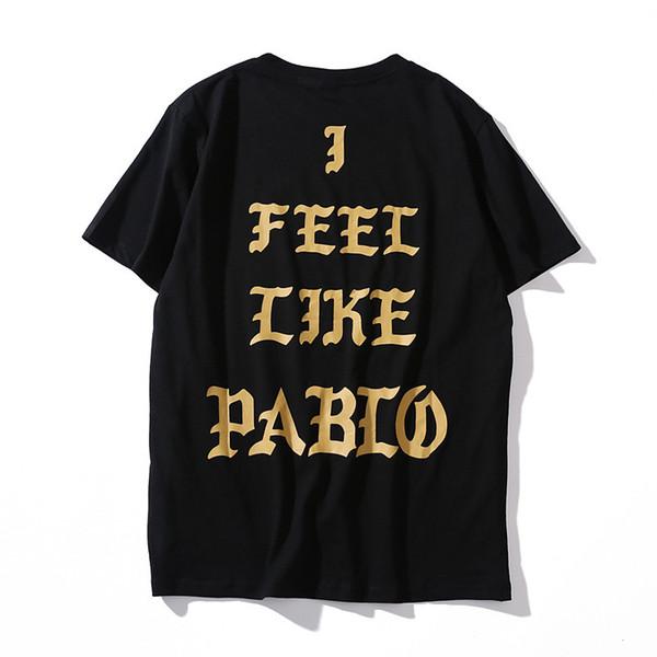 Mens Designer Summer Tshirts I FEEL LIKE PABIO Black White Tees Basic Kanye Fashion Tops