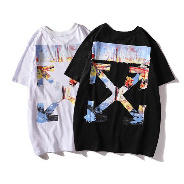 Tide Card Inchiostro e lavaggio Carattere Pittura ad olio Graffiti Freccia Stampa Tempo libero Facile T-shirt Manica corta T T-shirt Uomo E donna