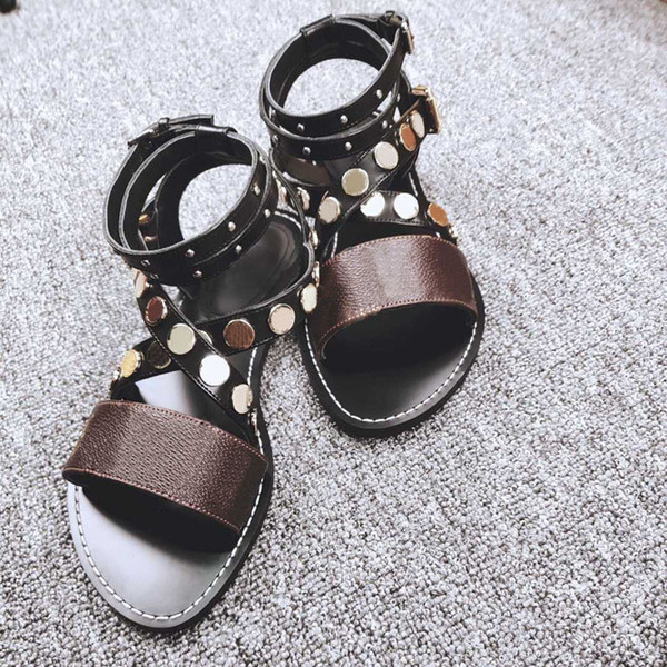 Fashion designer ladies sandals high heels super star ladies rivets sandals to send shoes box free shipping size 35-42