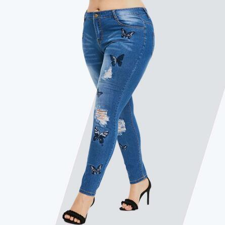 Plus Size Butterfly Distressed Embroidered Jeans Women Pant Skinny High Waist Pencil Pants Denim Jean Ladies Trousers